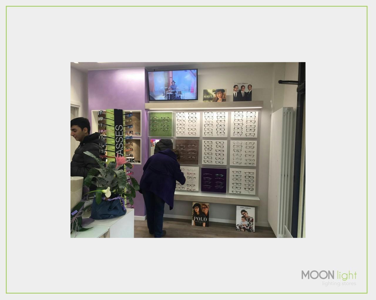 Illuminazione per negozi di ottica personalizzare esposizione